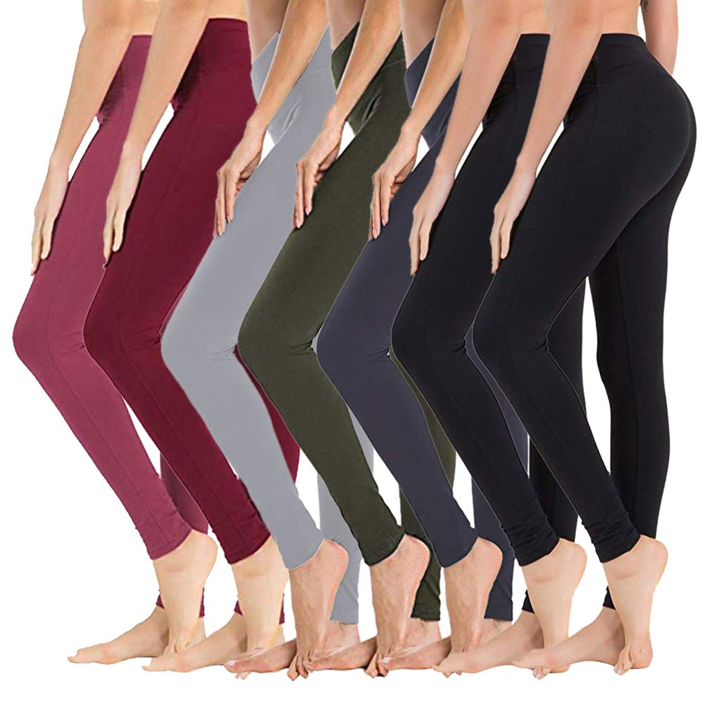 High Waisted Leggings for Women - Soft Athletic Tummy Control Pants for Running Cycling Yoga Workout - Reg & Plus Size (7 Pack Assort03, One Size (US 2-12)) by SYRINX