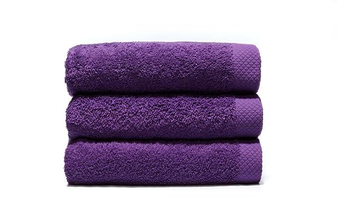 Home Basic - Juego de 3 toallas para tocador, 33 x 50 cm, lavabo, 50 x 100 cm y ducha, 70 x 140 cm, color violeta: Amazon.es: Hogar
