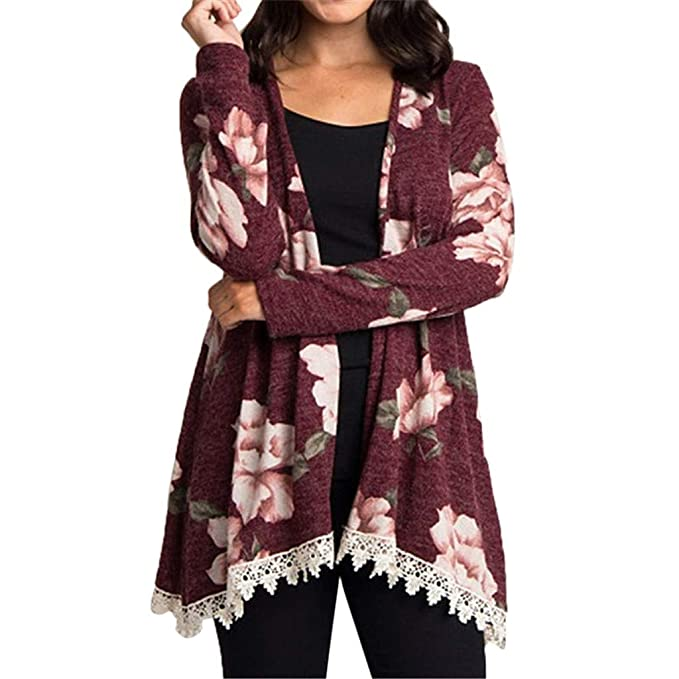 Amazon.com: AOJIAN Blouse Women Long Sleeve T Shirt Flower Print Lace Hem Cover Up Tunic Smock Tank Shirts Tops: Clothing