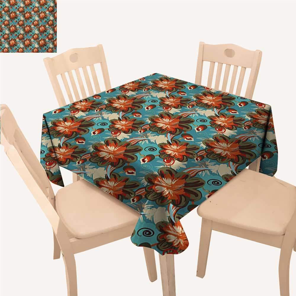 Angoueleven 花柄 正方形 テーブルクロス 縦型 波状 ストライプ 鮮やかな色 スプリングオーナメント 小さな花と星 滑り止め テーブルクロス マルチカラー W 70