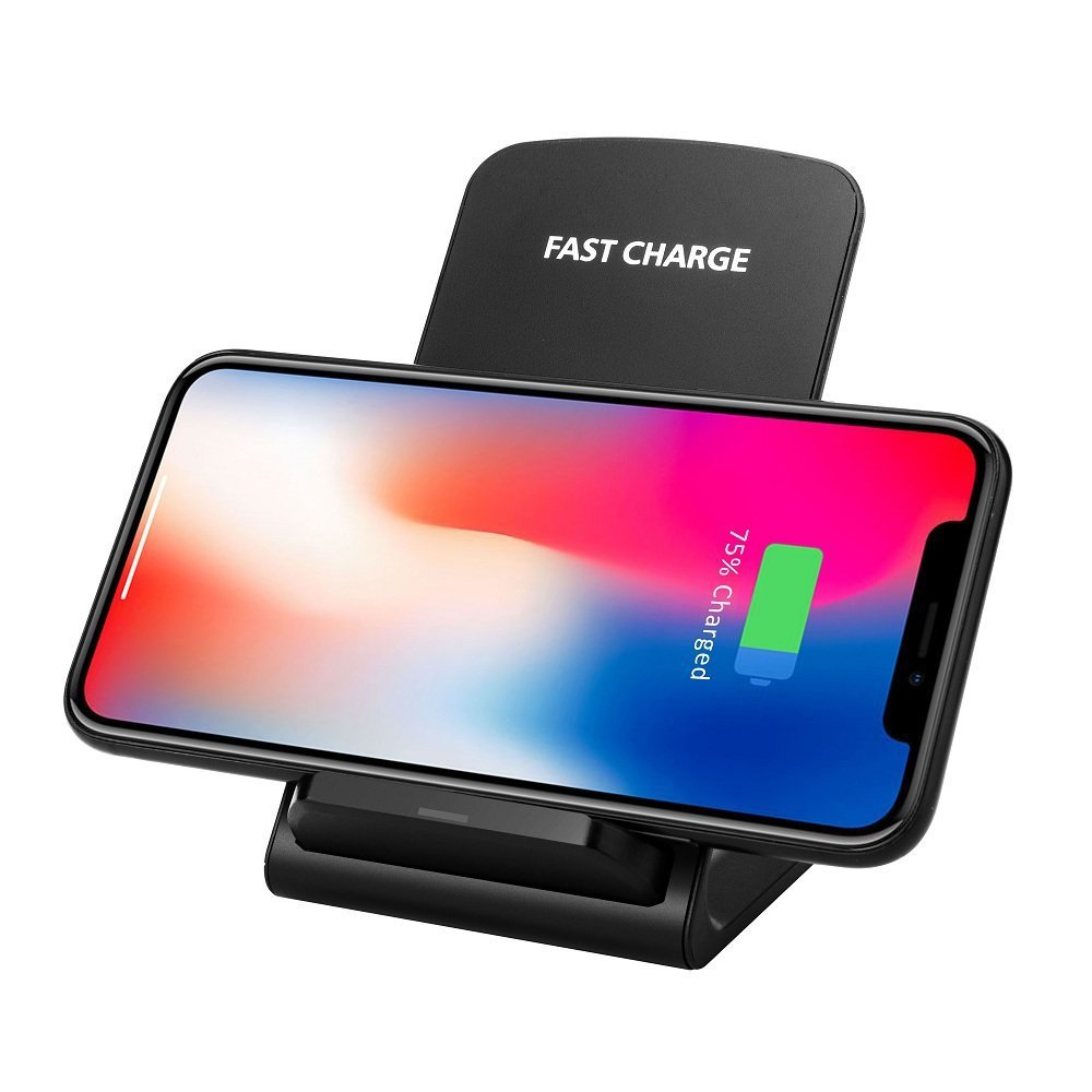TOPVORK Fast Wireless Charger, Qi Wireless Charging Stand for iPhone X/iPhone 8(Plus)/ Galaxy S9(Plus)/ S8(Plus)/ Note 8/ S7(Edge)/ S6(Edge) and More QI Devices