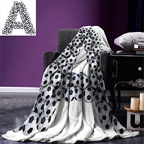 smallbeefly Letter A Digital Printing Blanket Realistic Soccer Balls in form of Capital A Sports Play League Competition Theme Summer Quilt Comforter Black White by smallbeefly