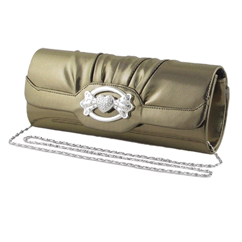 Women Magnetic Flap Closure Heart Wing Decor Evening Hand Bag