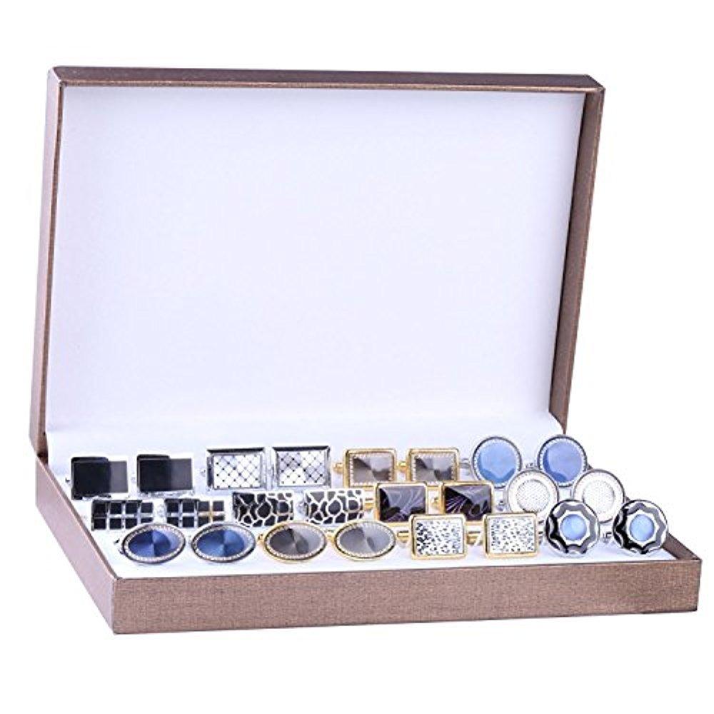 BodyJ4You Cufflink 12 Pairs Two Tone Classy Stylish Men's Cuff Links Elegant Gift Box FJ9804