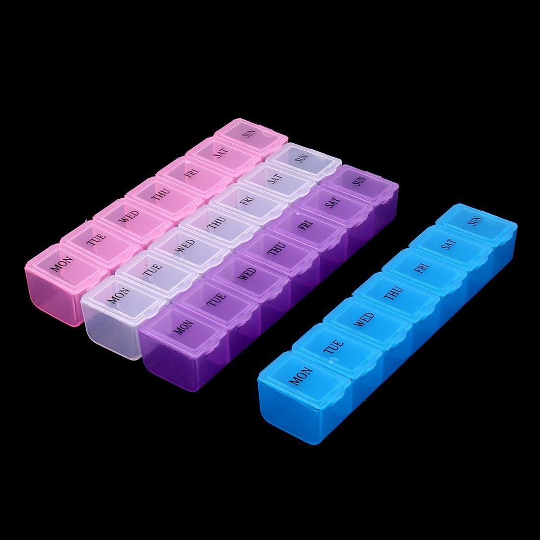 Amazon.com: eDealMax plástico hogar 7 compartimentos píldoras Medicamentos contenedores 4pcs caja de almacenaje: Health & Personal Care