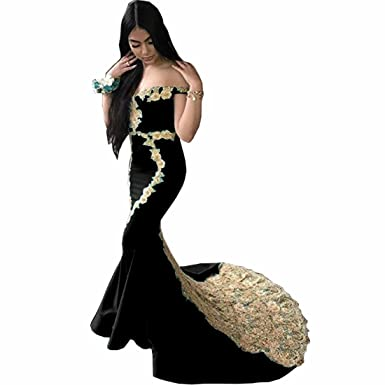 26ae72343ca92 Chady Women's Gold Appliques Mermaid Prom Dresses 2018 Black Bridesmaid  Dresses Off Shoulder Satin Evening Gowns