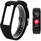 TUSITA Replacement Soft Silicone Band with Screen Protector Adjustable Bracelet Sport Strap WristBand Accessory for Polar A360