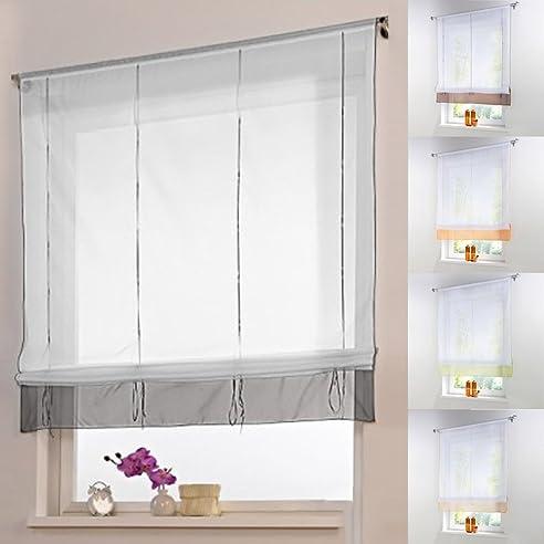 Amazon.De: Raffrollo Schlaufen Gardine Vorhang Transparent Für