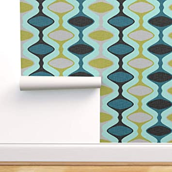 Spoonflower Peel And Stick Removable Wallpaper Mid Century Modern Ogee 1960s Stripe Teal Olive Aqua Retro Vintage Print Self Adhesive Wallpaper 12in X 24in Test Swatch Amazon Com