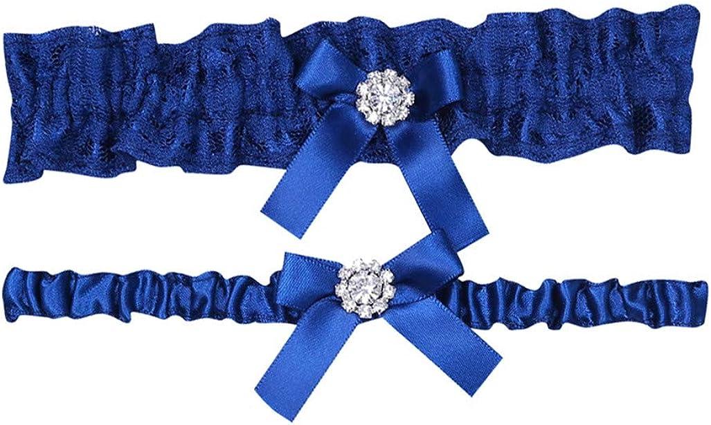 Elastic Wedding Garter Set Ladies Garter Belt Floral Birthday Party Prom Garter Blue Bow Garter VECDY Garter for Bride