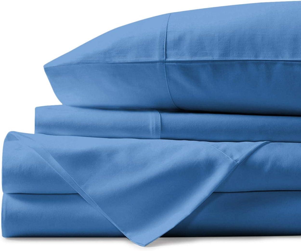 Mayfair Linen 100% Egyptian Cotton Sheets, Deep Blue King Sheets Set, 800 Thread Count Long Staple Cotton, Sateen Weave for Soft and Silky Feel, Fits Mattress Upto 18'' DEEP Pocket.