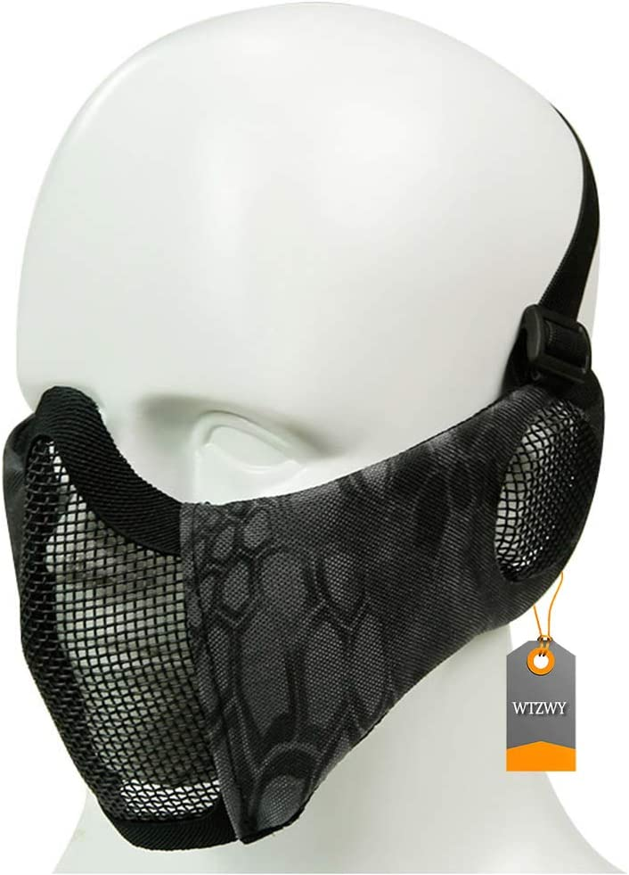 WTZWY Máscara táctica de Malla de Media Cara: máscara de Airsoft Plegable Ajustable con Cubierta para los oídos, Protector Inferior Protector para Disparos de Paintball CS BBS
