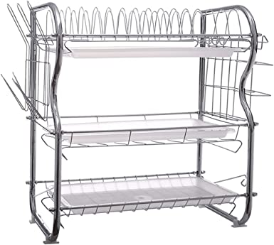 3-Tier Stainless steel Dish Drying Rack Kitchen Collection Shelf Organizer