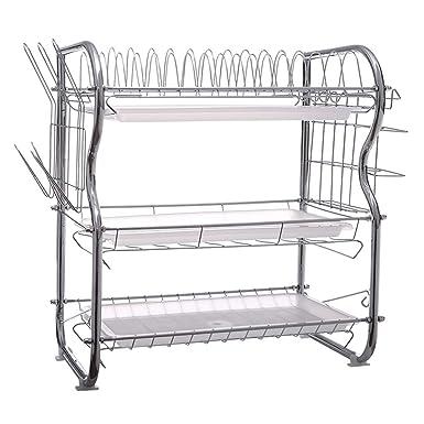 Amazon.com: Dish Rack, pollyhb Stainless Steel 3-Tier Dish ...