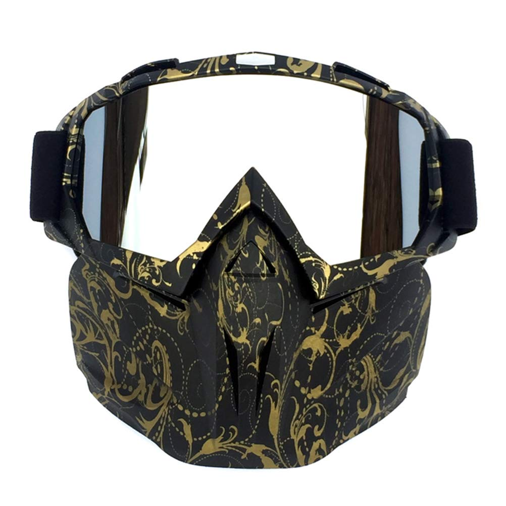 Yissma Maschera Antinfortunistica Rimovibile Maschera per mortasa e Supporto in Spugna per Casco da Aperto Motocross Sci Snowboard Occhiali da Cross Fuoristrada