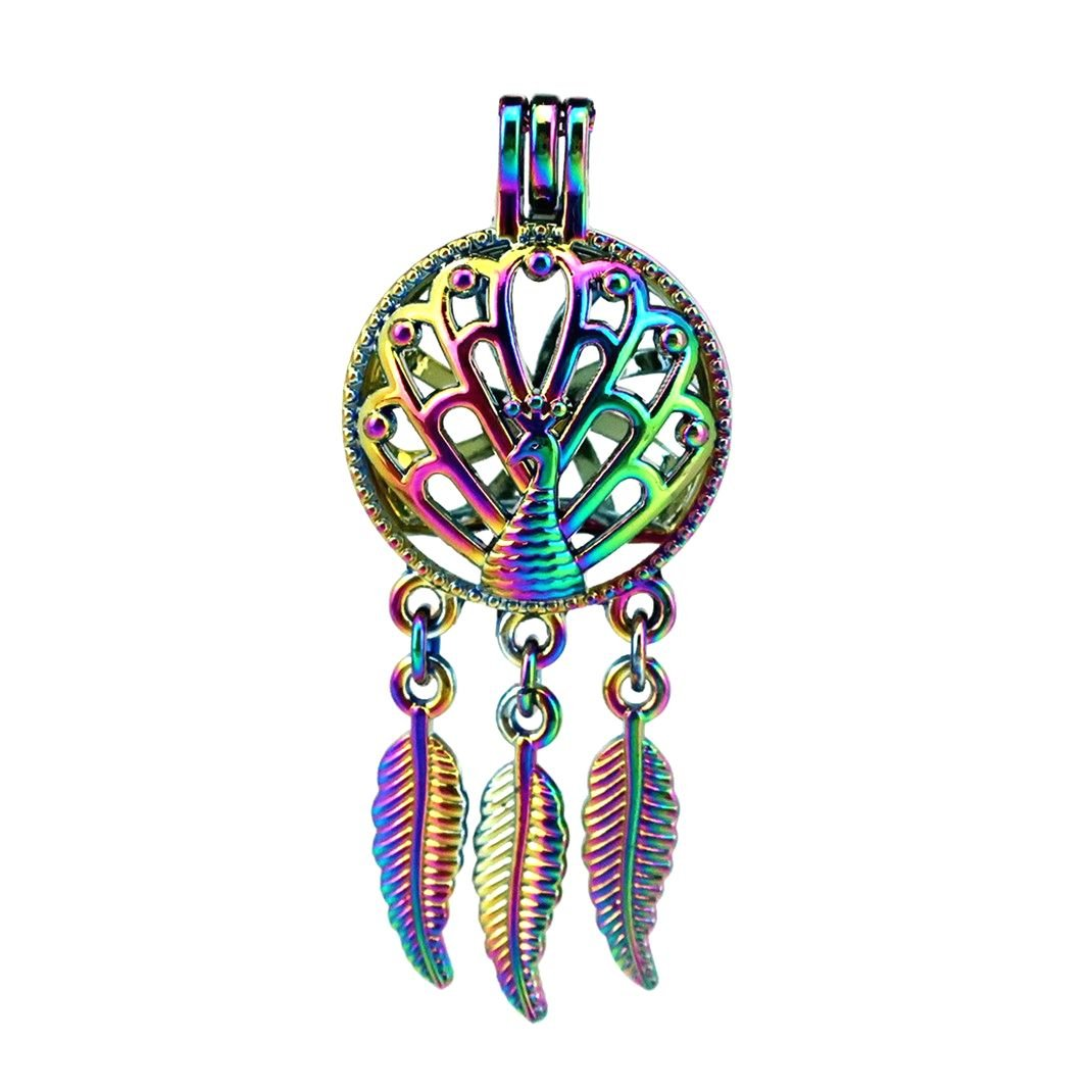 (10 Pack) Rainbow Color Dream Catcher Peacock Pearl Beads Cage Locket Pendant Charms