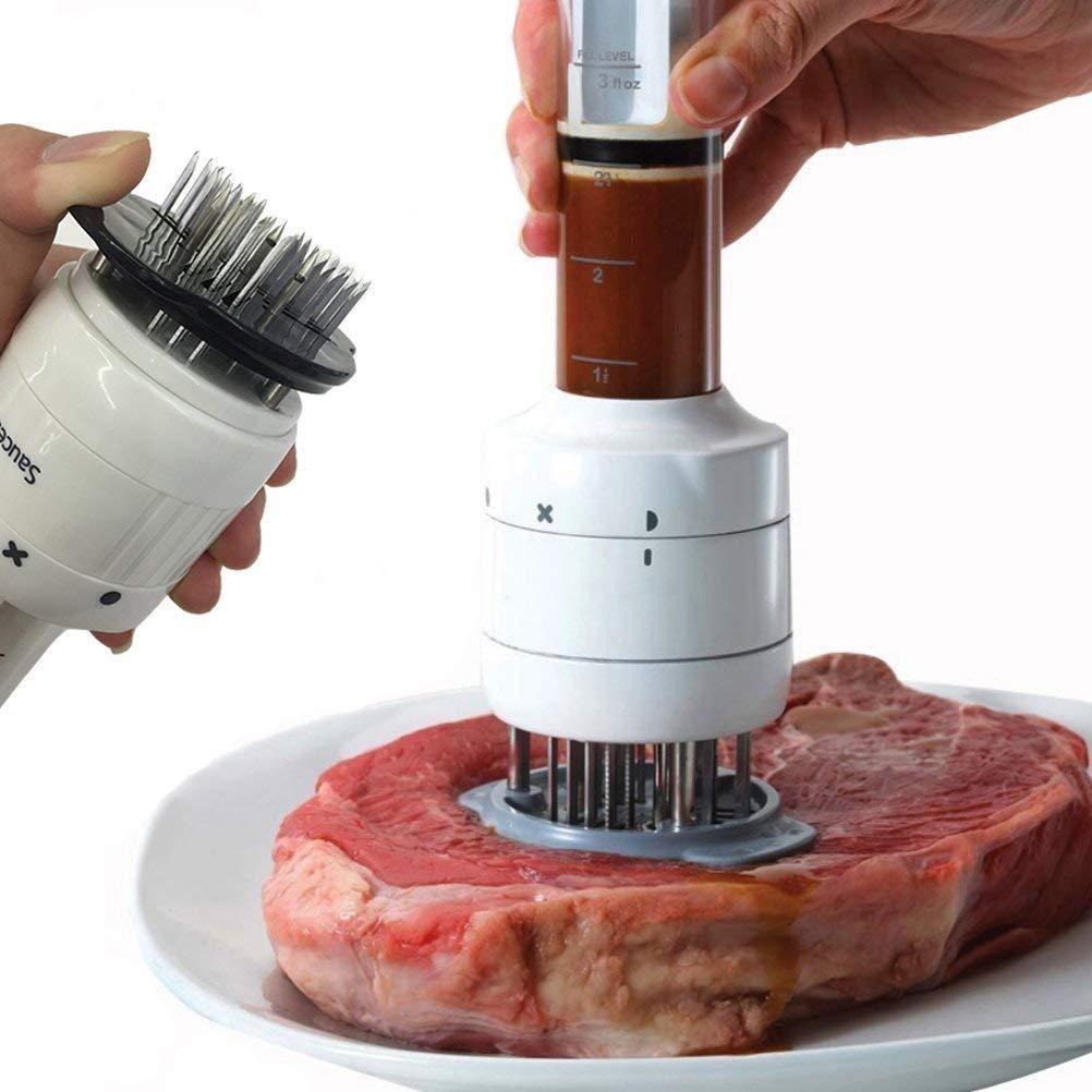 Odowalker Meat Tenderizer & Meat Flavor Injector Spice Steak 2 in 1 Kitchen Gadget with 30 Ultra Sharp Needle Blade (3 Injection Needle Pinhole) 3 Oz Marinade Syringe by Odowalker