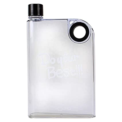 e396d3a538 Buy HOKIPO® Flat Plastic A5 Memo Notebook Water Bottle, 380 ml, Clear Online  at Low Prices in India - Amazon.in