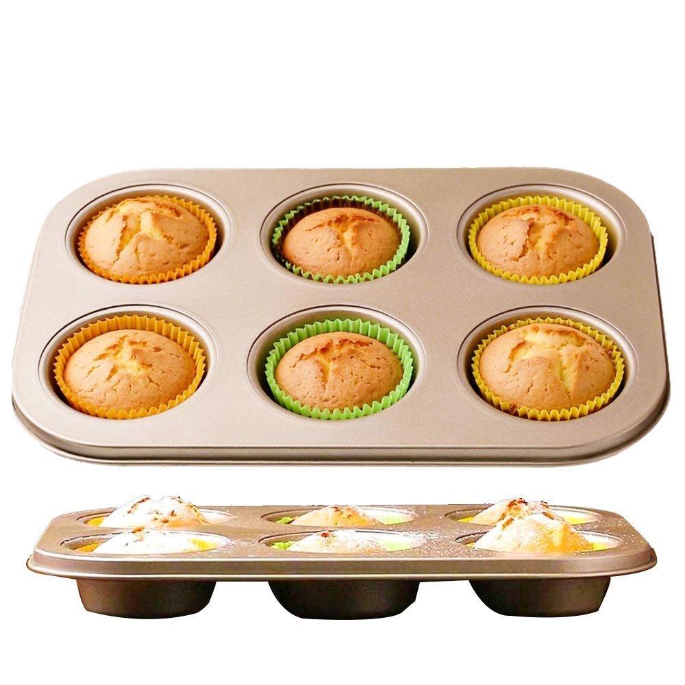 Benekingマフィンパン6カップNonstickカーボンスチールカップケーキパン( 2 - Pack ) ゴールド BKUS-CFYJ-YD6C-Gold B078WQFHMK ゴールド ゴールド