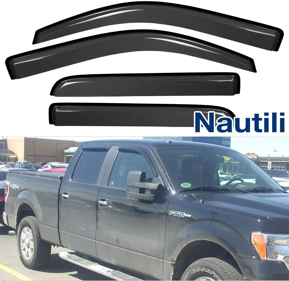 VIOJI 4pcs Compatible with 09-14 Compatible withd F-150 Super Crew Cab Dark Smoke Out-Channel Outside Mount Style Wind Sun Rain Guard Vent Shade Deflector Window Visors