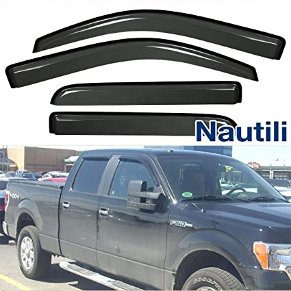 VIOJI 4pcs for 09-14 Ford F-150 Super Crew Cab Dark Smoke Out-Channel Outside Mount Style Wind Sun Rain Guard Vent Shade Deflector Window Visors