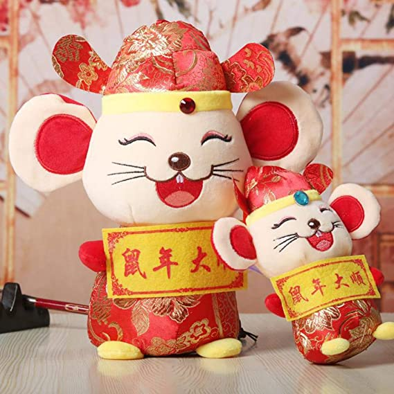 FLOGZONE 1Piece Cute Rat Plush Toy Red Mascot Plush Soft Doll Bolster Stuffed Animal Pillow Gift 2020 Chinese Rat New Year Lucky Zodiac Present Blessing Souvenir Gift