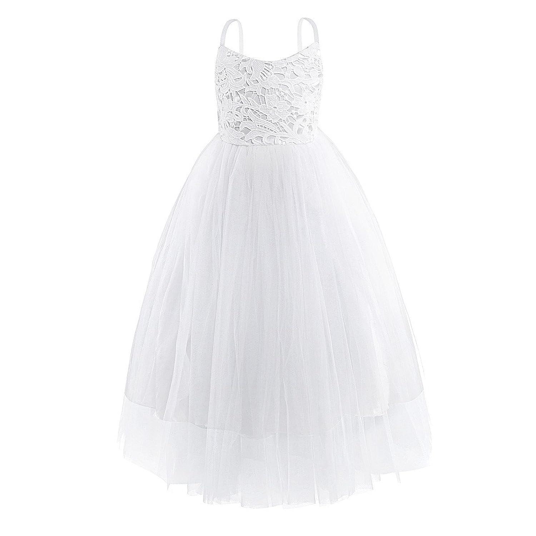 À Spaghetti Enfant Bretelles Longue Robe Princess Iiniim Blanche 1JKTlFc