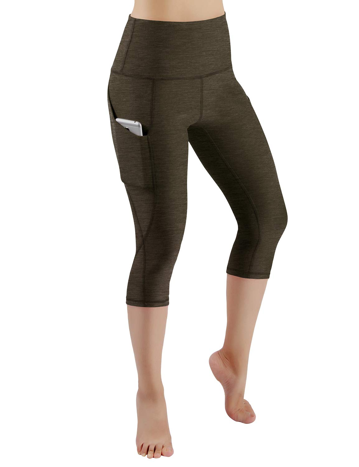 ODODOS High Waist Out Pocket Yoga Capris Pants Tummy Control Workout Running 4 Way Stretch Yoga Leggings,Olive,X-Small by ODODOS (Image #2)