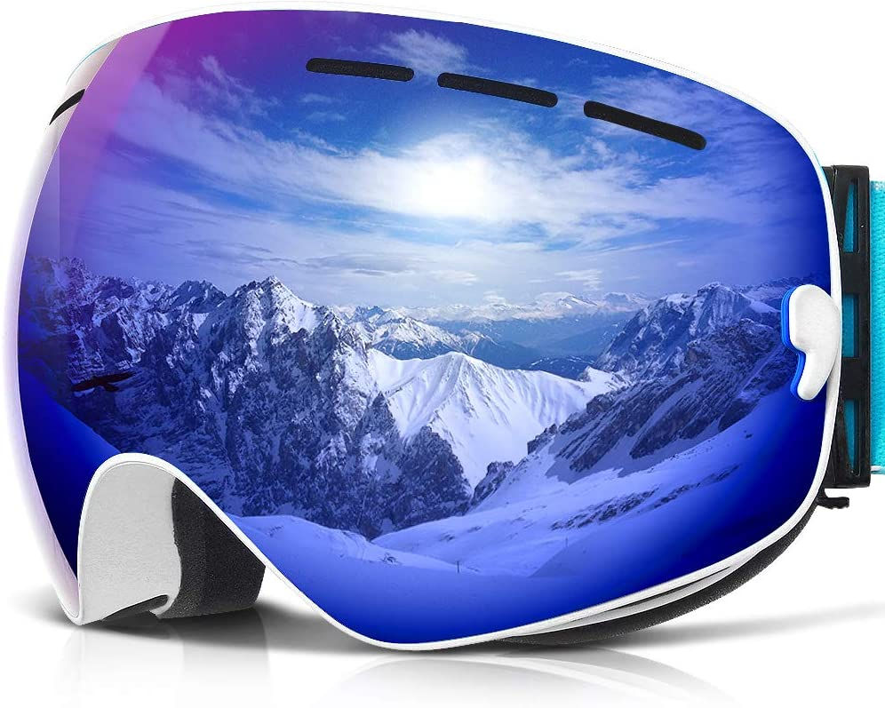 COPOZZ Ski Goggles, G1 OTG Snowboard Snow Goggles for Men Women Youth, Interchangeable Double Layer Anti Fog UV Protection Lens, Polarized Goggles Available