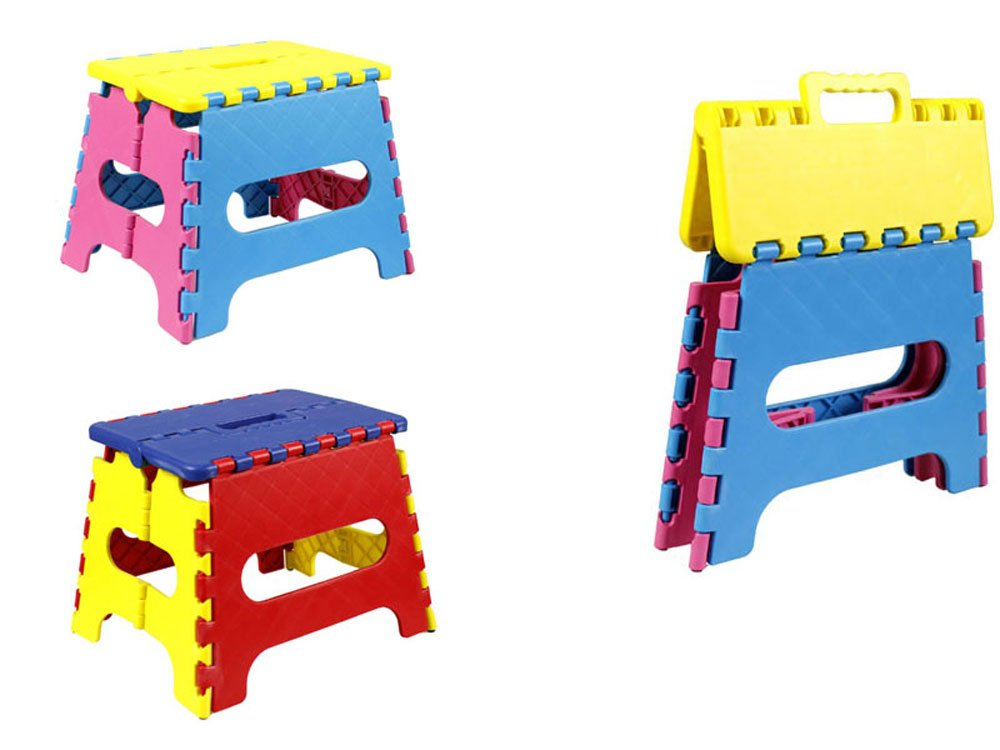 Vetrineinrete/® Sgabello in plastica pieghevole per bambini richiudibile con manico salvaspazio sgabellino peso max 15 kg P16