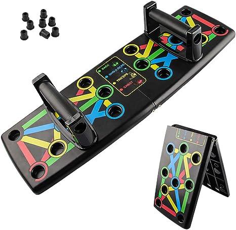 Push Up Rack Board, Tabla de Empújar Portátil Multiparte 14 en 1, Maquinas Plegables Codificadas por Color para Hacer Ejercicio para el Entrenamiento ...
