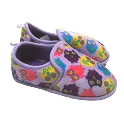 Amazon.com | Girls & Toddler Purple Owl Slippers Loafer Style ...