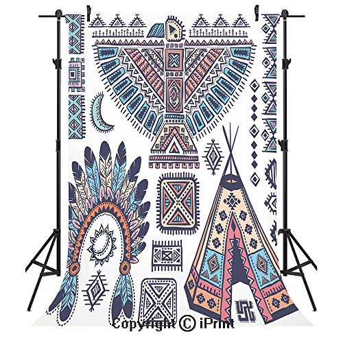 Tribal Photography Backdrops,Ethnic Teepee Tents Eagle Symbol Moon Sun and Feather Chief Hat Print Decorative,Birthday Party Seamless Photo Studio Booth Background Banner 3x5ft,Coral Blue and ()