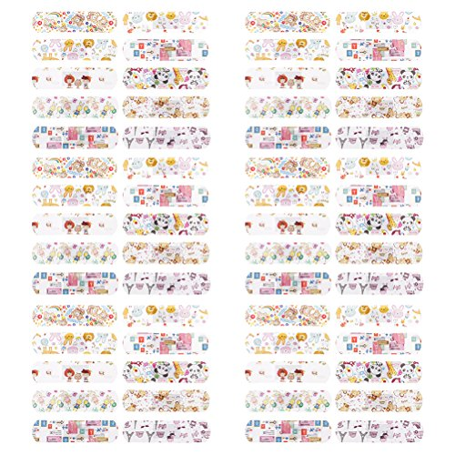 SmiDay Children's Adhesive Bandages for Kids Protection, Cute Lovely Cartoon Print, Band-Aid Assorted (Pack of (Hypoallergenic Sheer Bandages)