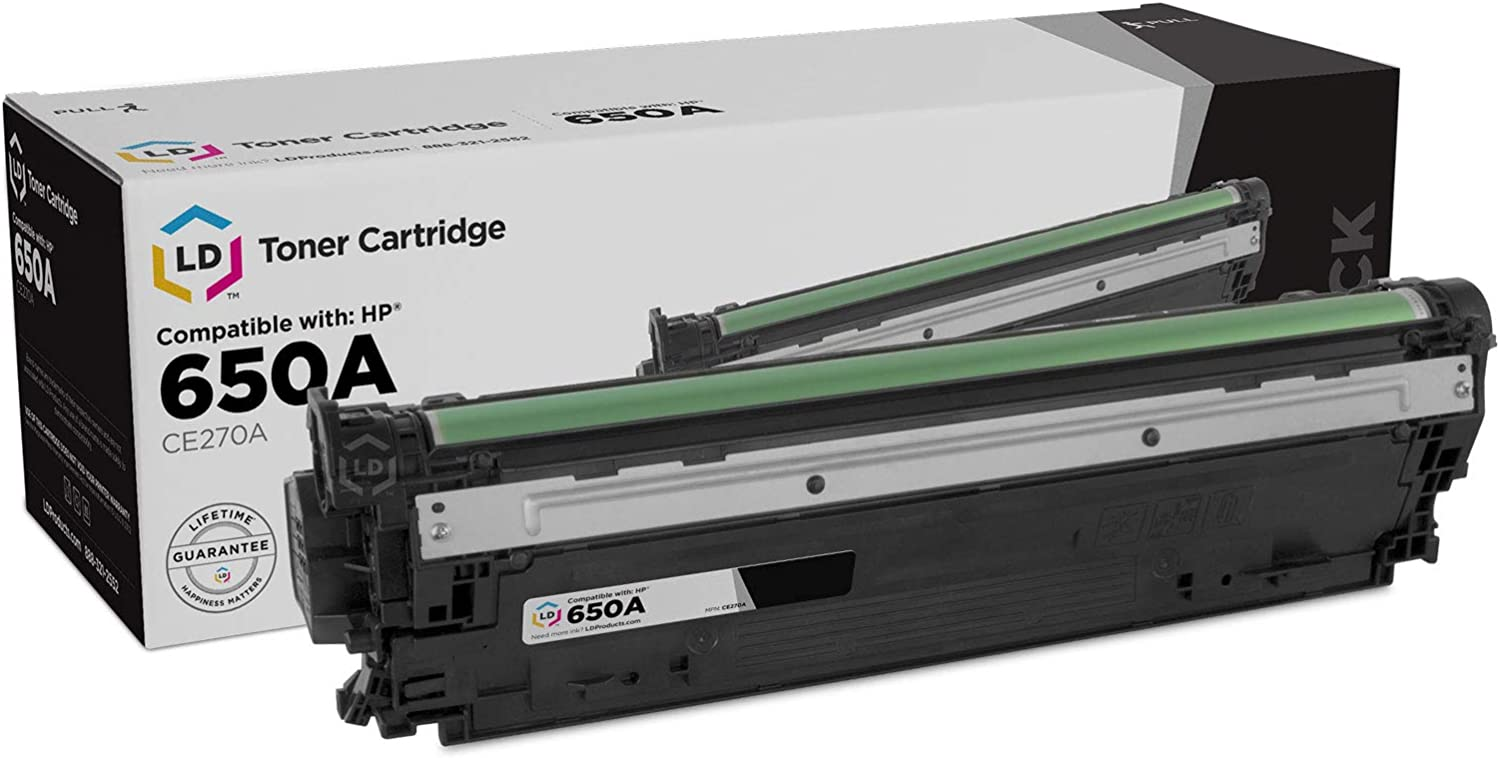 LD Remanufactured Toner Cartridge Replacement for HP 650A CE270A (Black)
