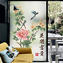 ASIBG Home Frosted Window Glass Bathroom Toilet Paper And Foil Stickers Transparent Opaque Window Paper,Matte Electrostatic Film B 58Cm Width *90Cm High