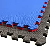 IncStores - Jumbo Soft Interlocking Foam Tiles (6 Tiles, Black/Grey) Perfect for Martial Arts, MMA, Lightweight Home Gyms, p90x, Gymnastics, Cardio, and Exercise