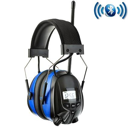 PROTEAR Auriculares inalámbricos de reducción de ruido con radio digital AM FM Bluetooth, NRR 25
