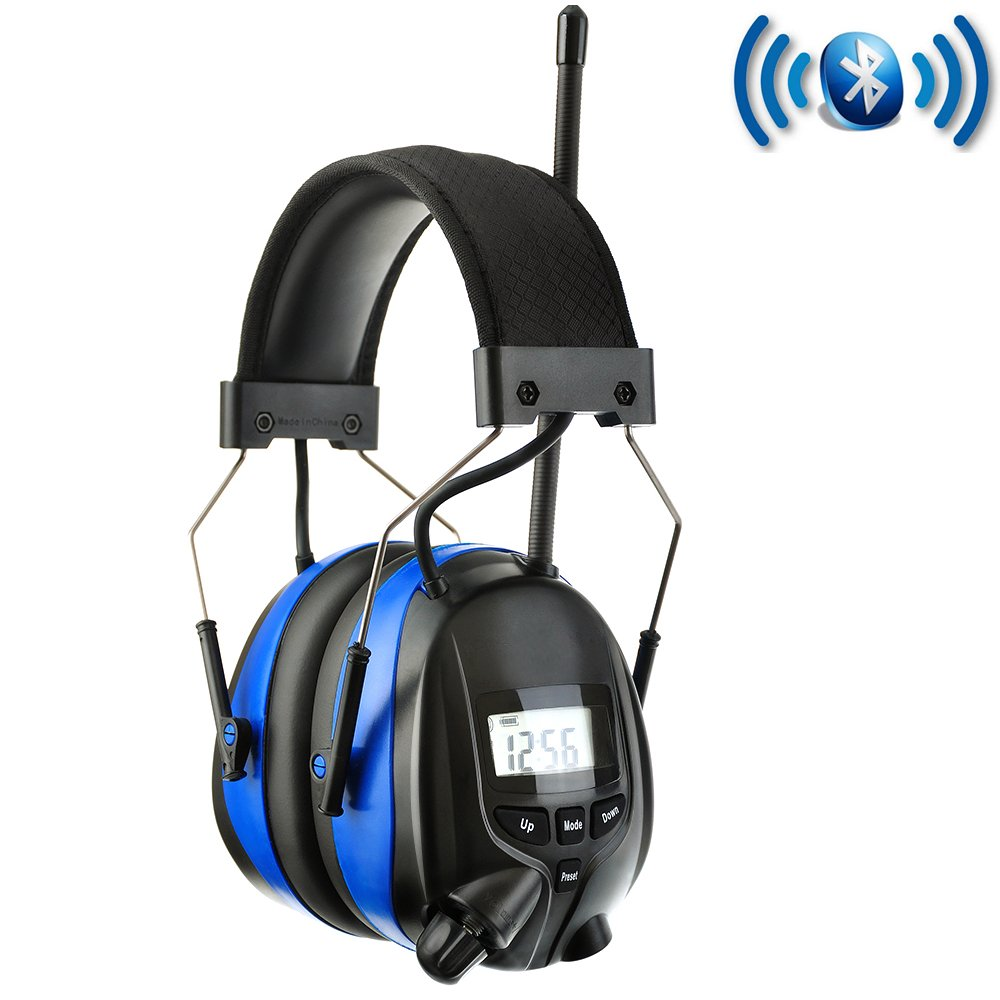 PROTEAR Wireless Bluetooth & AM FM Radio Headphones with Rechargeable Lithium Battery,NRR 25dB Hearing Protection Safety Ear Muffs with Digital Display,Noise Reduction Headset for Working,Lawn Mowing
