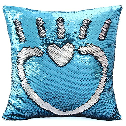 MHJY Mermaid Sequin Pillow with Insert, 16
