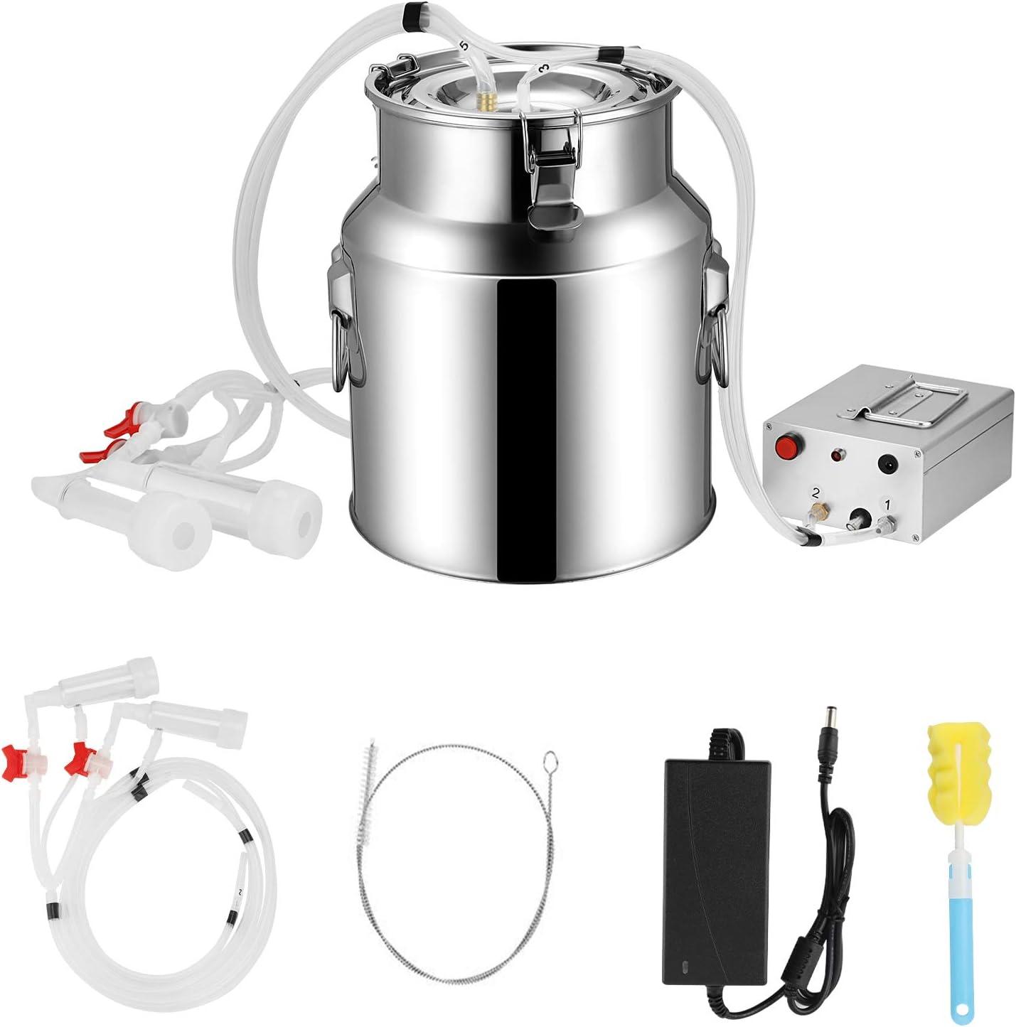 SEAAN 14L Cow Goat Milking Machine Electric,Portable Electric Milking Machine,Milk Machine Pulsation Vacuum Pump Milker Adjustable Vacuum Pump
