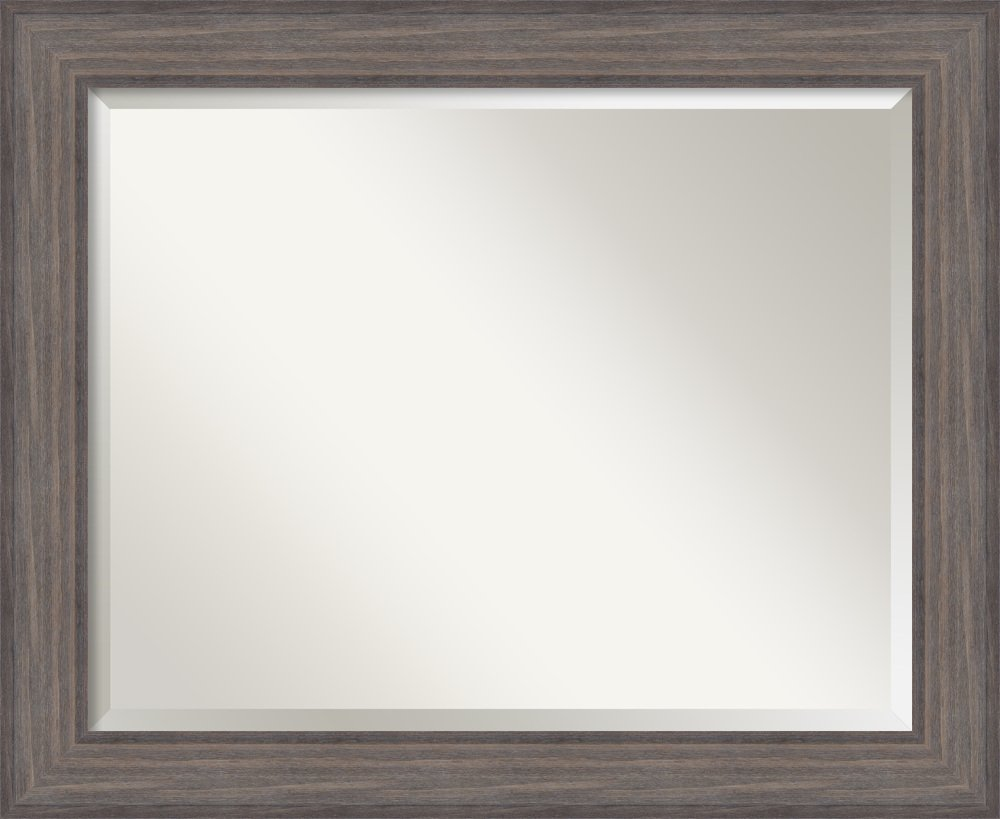 Wall Mirror Large, Country Barnwood Wood: Outer Size 33 x 27''