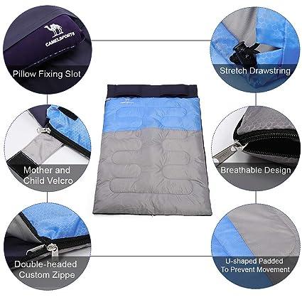 Amazon.com: CAMEL CROWN - Saco de dormir doble con 2 ...