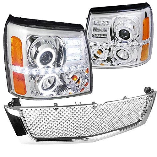 Cadillac Escalade Ext Esv Base, Chrome Halo Led Projector Headlights+Mesh Grille Cadillac Escalade Chrome Mesh