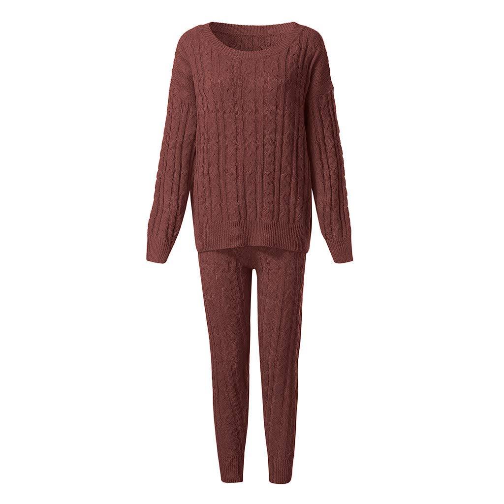 Women Sweater 2PC Mujeres Chica sólido de Cable de Hombro de Punto Caliente Loungewear Juego Conjunto: Amazon.es: Ropa y accesorios