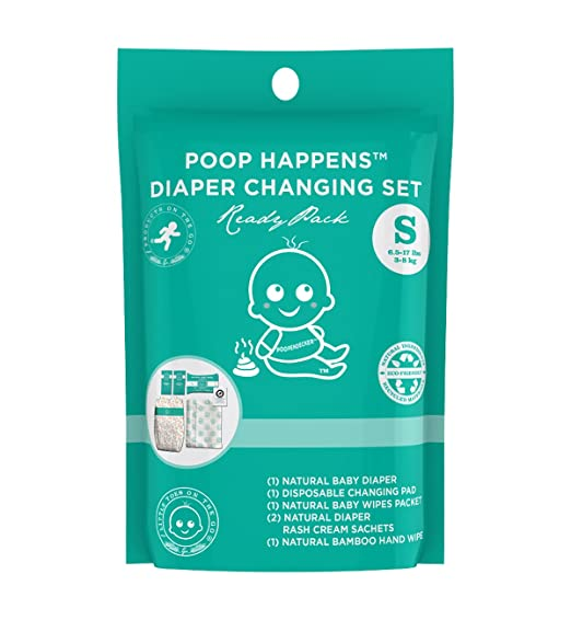 Little Toes On The Go Poop Happens One Complete Natural Diaper Change Set with Bamboo Baby Diaper, Diaper Rash Cream, Baby Wipes, Hand Wipes and Disposable Diaper Changing Pad (Small 6-17lbs)