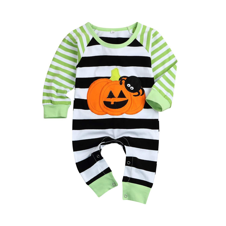 2ad547c22841 Newborn Baby Halloween Jumpsuit Boys Girls Long Sleeve Pumpkin Spider  Striped Romper Onesie Outfit Clothes (Black
