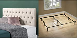 Zinus Trina Upholstered Modern Classic Tufted Headboard in Taupe, Queen & Michelle Compack 9-Leg Support Bed Frame, for Box Spring and Mattress Set, Queen