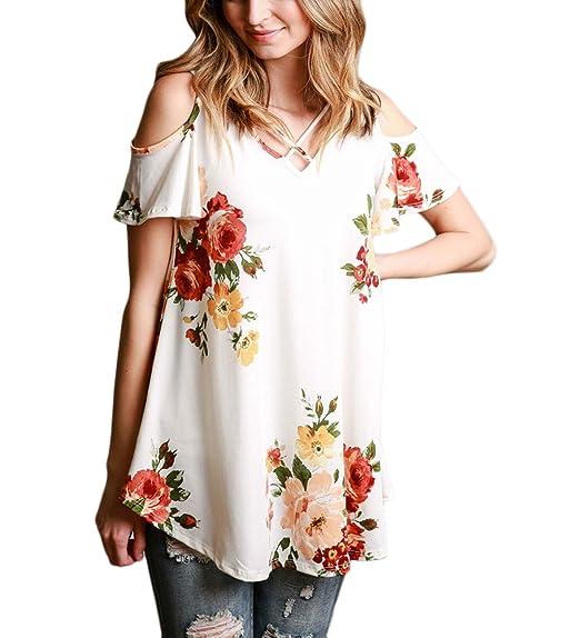 Camisas Mujer Verano Manga Corta V Cuello Hombros Descubiertos Elegantes Vintage Estampadas Flores Bohemio Ropa Modernas