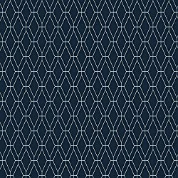 York Wallcoverings GE3652 Ashford Geometrics Diamond Lattice Wallpaper,,, Navy Blue, White